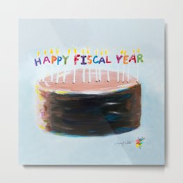 Happy Fiscal Year Cake Metal Print