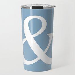 Ampersand sign on placid blue color background Travel Mug