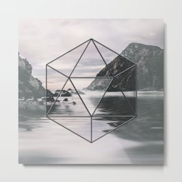 Surreal Geometric Calm Water Landscape View Hexagon Metal Print