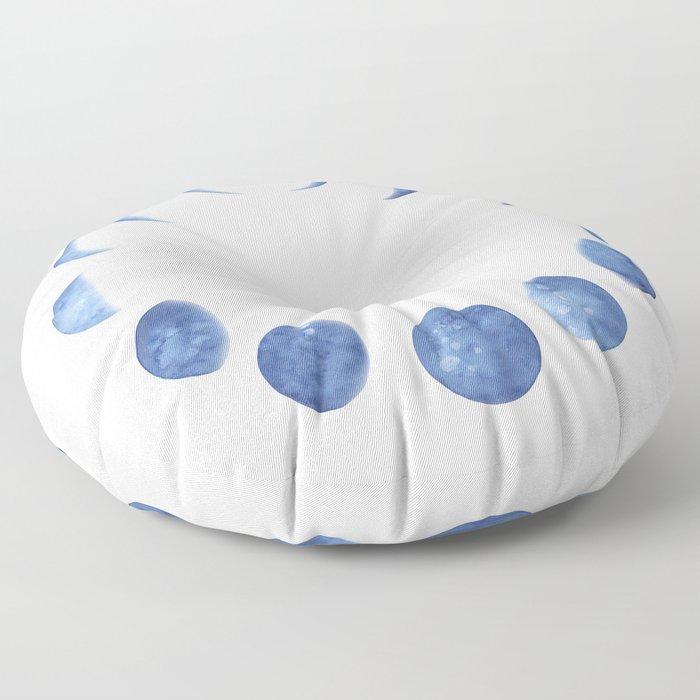 Blue Moon Phases   Watercolor Painting Floor Pillow