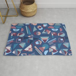 Winter Shapes Pattern in Blue Rug
