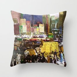 Bustling Big City New York landscape painting by George Wesley Bellows Throw Pillow