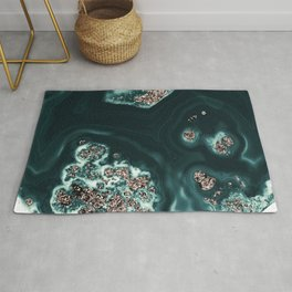 Malachite with Rose Gold Glitter #1 #shiny #gem #decor #art #society6 Rug
