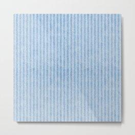 Nappy Faux Velvet Stripes in Blue on Blue Metal Print