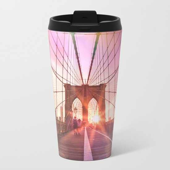 New York City Brooklyn Bridge Sunset Metal Travel Mug