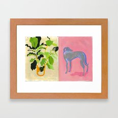 Plant and Pink dog Framed Art Print