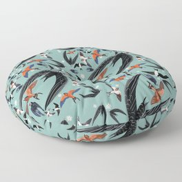 Swallows Martins and Swift pattern Turquoise Floor Pillow