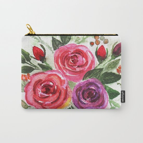 Watercolor floral pattern . Roses. Carry-All Pouch