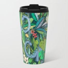 Improbable Botanical with Dinosaurs - dark green Travel Mug