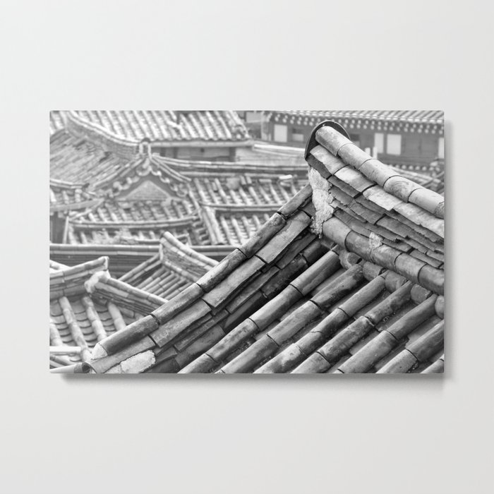 Black & White Hanoks Metal Print