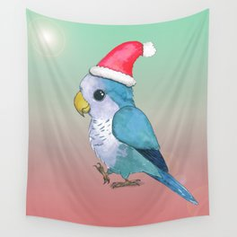 Cute blue Christmas parrot Wall Tapestry