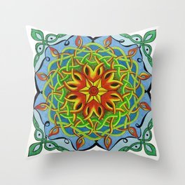 Fire Renewal Mandala Celtic Knot Mandala Art Throw Pillow