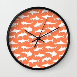 Sharks on Coral Wall Clock