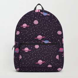 Pink Constellations and Planets Pattern Backpack