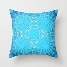 Turquoise Blue Color Burst Throw Pillow