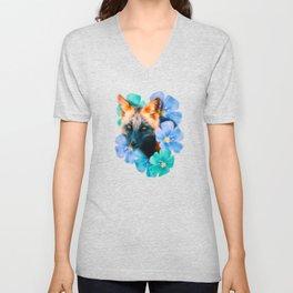 Flowers - Fox (Digital Drawing) Unisex V-Neck