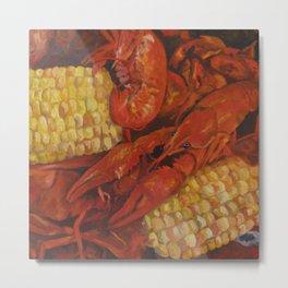 Crawfish and Corn Metal Print