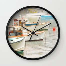 Lobster Boats In Bass Harbor Mount Desert Island Maine  Wall Clock