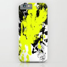 Surprise! Black and yellow abstract paint splat artwork iPhone 6s Slim Case