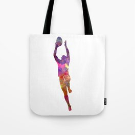 Rugby man player 03 in watercolor Tote Bag