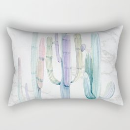Marble Cactus Watercolor Painting Rectangular Pillow