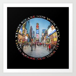 Times Square Sparkle (badge on black) Art Print
