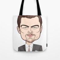 leonardo dicaprio Tote Bags featuring Leonardo DiCaprio by Studio Drawgood