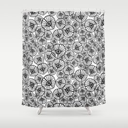 Lexi - squiggle modern black and white hand drawn pattern design pinwheels natural organic form abst Shower Curtain