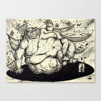 fat Canvas Prints featuring FATTY FAT FAT by Johnny B. Pimp