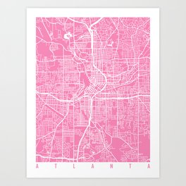 Atlanta map pink Art Print