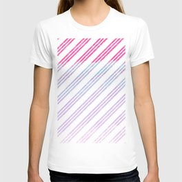 Modern abstract pink teal lilac watercolor stripes T-shirt