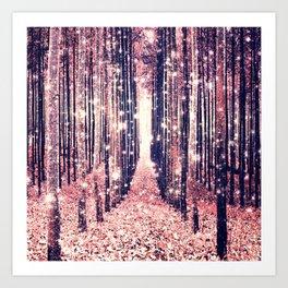 Millennial Pink Magical Forest Art Print