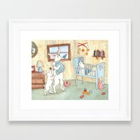 nursery Framed Art Prints featuring Nursery by Bluedogrose