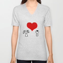 Cute boy and girl love doodle Unisex V-Neck