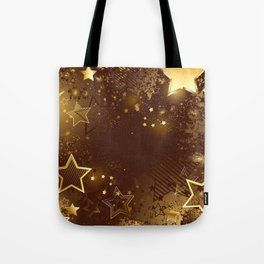 Brown background with golden stars Tote Bag