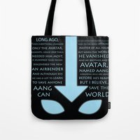 avatar the last airbender Tote Bags featuring The Last Airbender by first a shadow