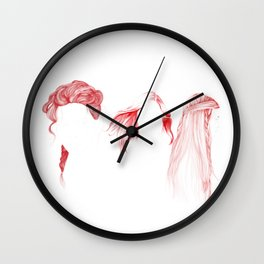 Three Red Girls Wall Clock