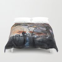 autumn Duvet Covers featuring Autumn rain - watercolor by Nicolas Jolly