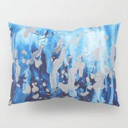 Blue waterfall encaustic painting Pillow Sham