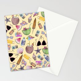 Summer Cute Girly Beach Collage on Yellow Stationery Cards