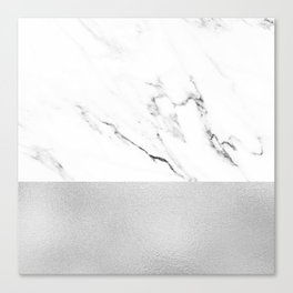White Marble with Black and Grey Silver Stripe Canvas Print