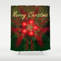 merry christmas Shower Curtains featuring Merry Christmas by Roger Wedegis