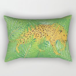 Leopard with tropical leaves Rectangular Pillow
