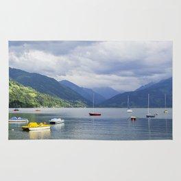 Blue mountain lake Rug