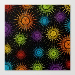 Colorful Christmas snowflakes pattern- holiday season gifts Canvas Print
