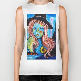 Blue Lady With Hat Biker Tank