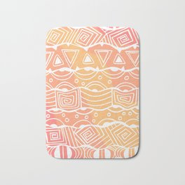 Wavy Tribal Lines with Shapes - White on Orange - Doodle Drawing Bath Mat