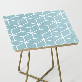 Light Blue and White - Geometric Textured Cube Design Side Table