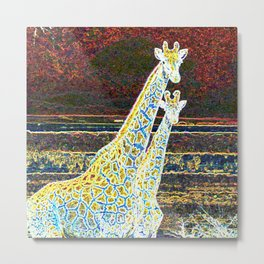 Cool Pop Art Giraffes - Help fund education for impoverished kids in Malawi, Africa.  #MoreThanAid. Metal Print