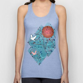 Art Nouveau Moon and Doves (Bronze and Blue) Unisex Tank Top